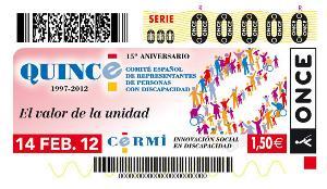 Cupón de la ONCE dedicado al 15º aniversario del CERMI