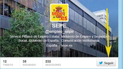 Imagen del SEPE en twitter