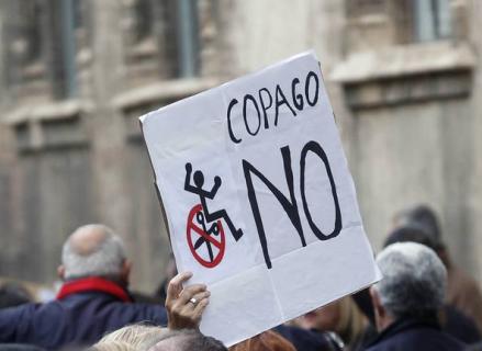 Pancarta con un NO al copag