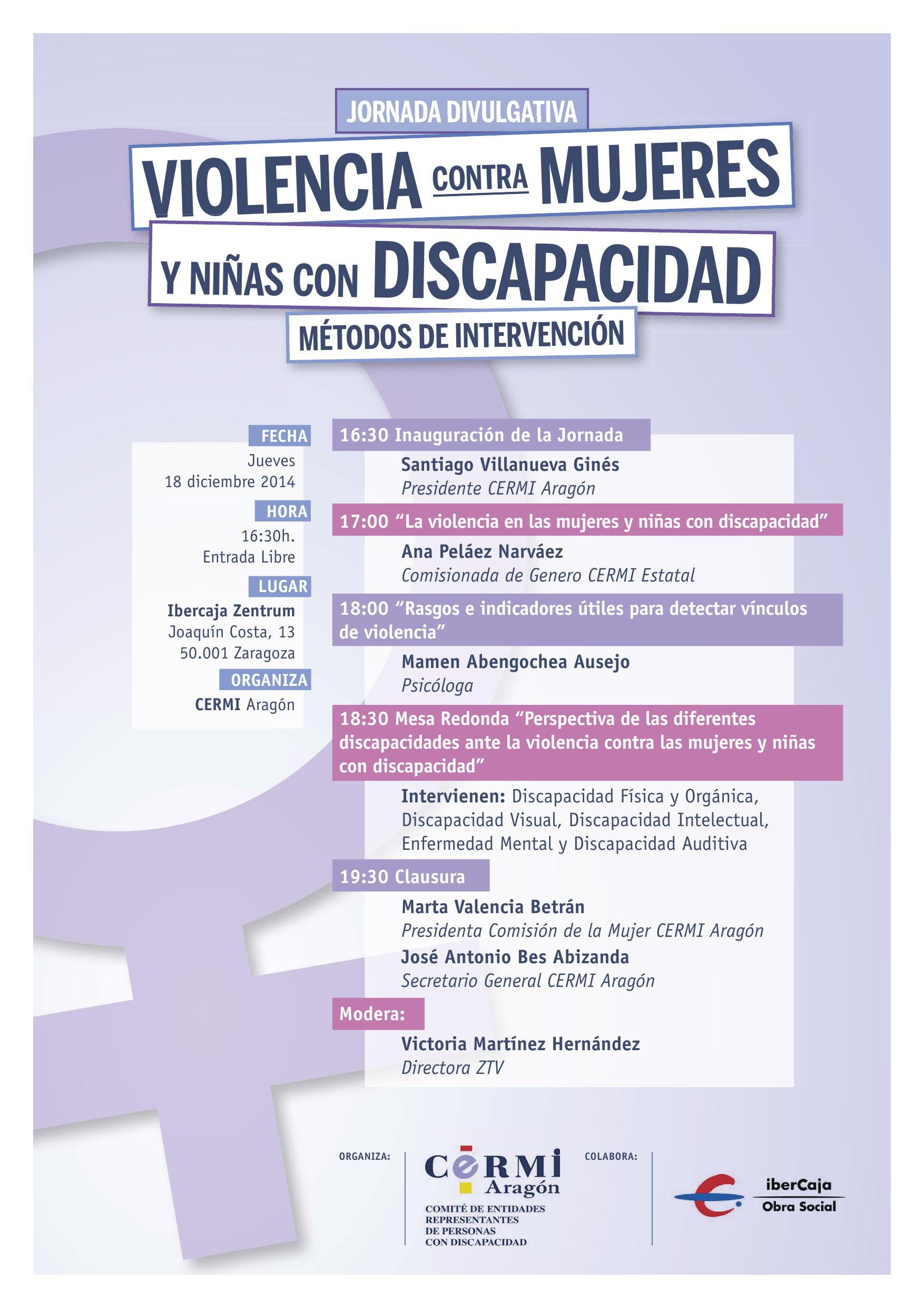 """Programa de la jornada """"Violencia contra las mujeres y niñas con Discapacidad. Métodos de intervención"""" de CERMI-Aragón"""