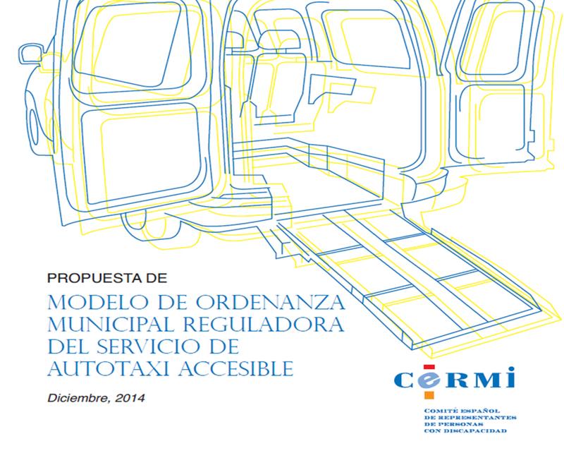 Portada de la Propuesta de modelo de Ordenanza municipal reguladora del servicio de autotaxi accesible