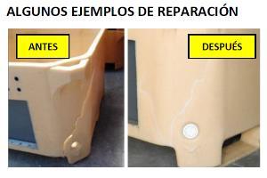 Ejemplo del antes y el después en la reparación de plásticos de los talleres PRS