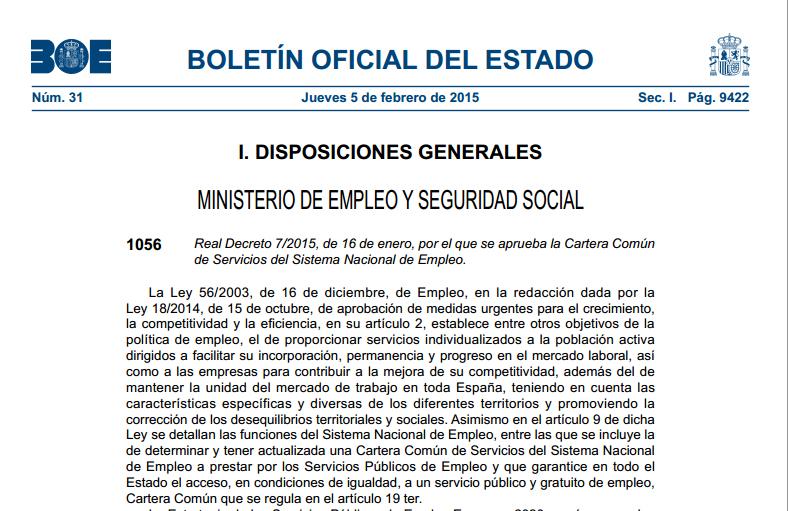 Detalle del real decreto que establece la nueva cartera de servicios en materia de empleo
