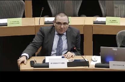 Óscar Moral, asesor jurídico del CERMI durante su comparecencia en el Parlamento Europeo