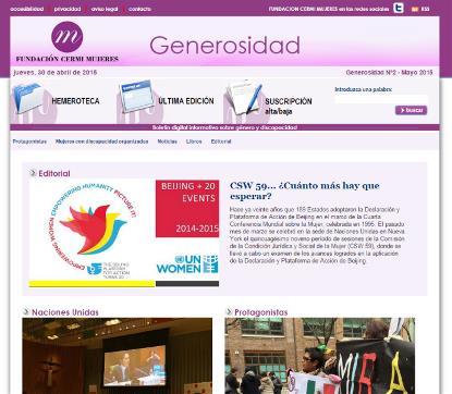 Imagen del número 2 del boletín 'Generosidad' de la Fundación CERMI Mujeres