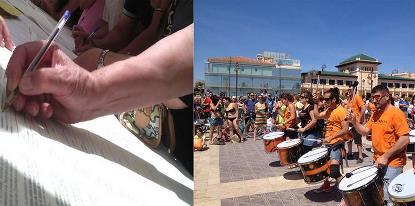 Imágenes de la actividad del CERMI Comunidad Valenciana en su campaña contra el copago
