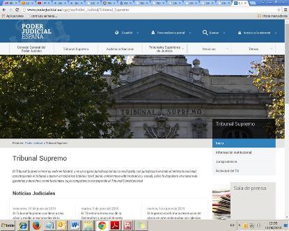 Detalle de la página web del Consejo Superior del Poder Judicial