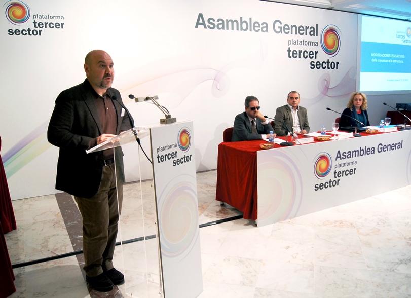 El presidente del CERMI, Luis Cayo Pérez Bueno, en una asamblea general de la Plataforma del Tercer Sector
