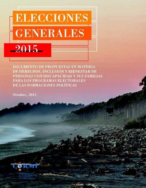 Imagen de portada del documento de propuestas del CERMI para las elecciones del 20-D de 2015