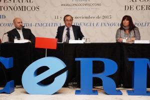 Luis Cayo Pérez Bueno, presidente del CERMI junto al ministro Alonso y la presidenta del CERMI Comunidad de Madrid, Mayte Gallego
