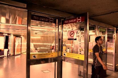 Detalle de una de las entradas de Metro de Madrid
