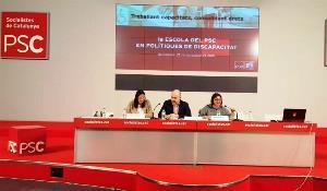 Escuela de políticas de discapacidad del PSC, en la imagen Pilar Díaz Secretaria de Políticas de Discapacidad y el presidente del CERMI