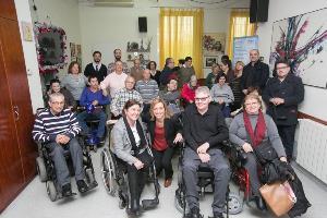 Pilar Díaz Secretaria de Políticas de Discapacidad del PSC-PSOE con Carme Chacón en la campaña de las generales