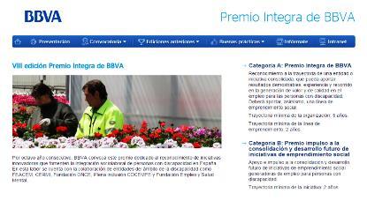 Imagen de la web de los Premios Integra