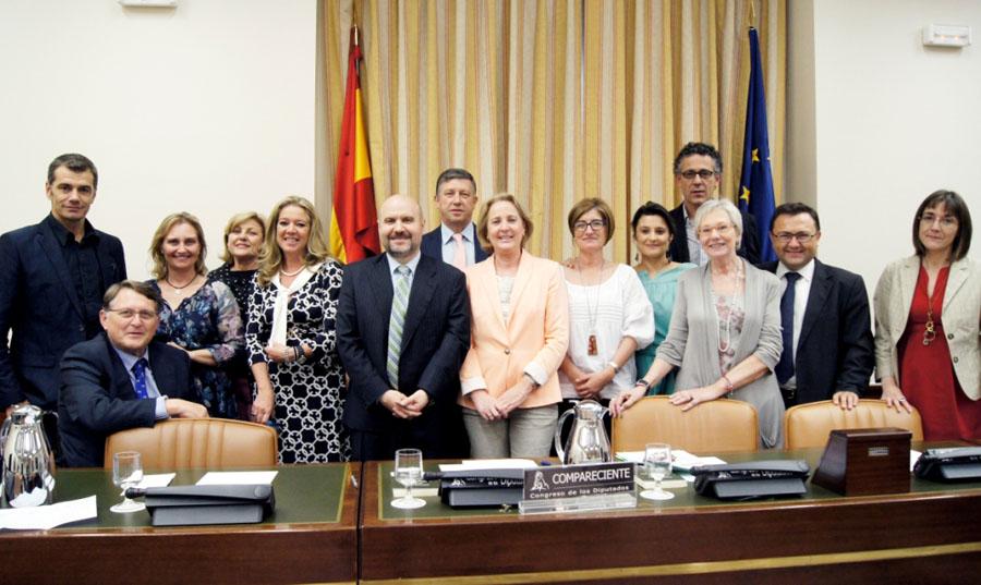 Luis Cayo Pérez Bueno, presidente del CERMI, con integrantes de la Comisión de Discapacidad del Congreso de los Diputados