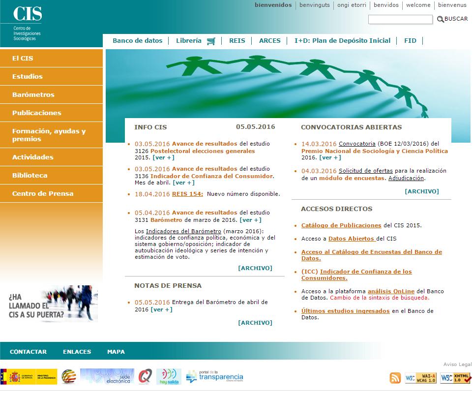 Detalle de la página web del CIS