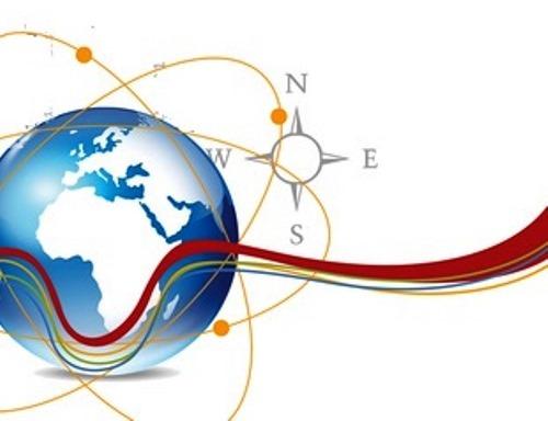 Bola del mundo con los puntos cardinales