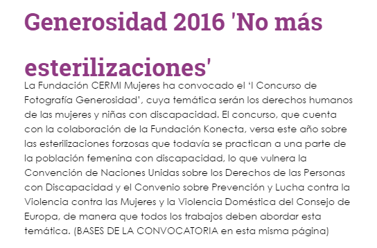 Detalle de una notica de la Fundación CERMI Mujeres sobre un concurso fotográfico para acabar con la esterilización forzosa de niñas con discapacidad