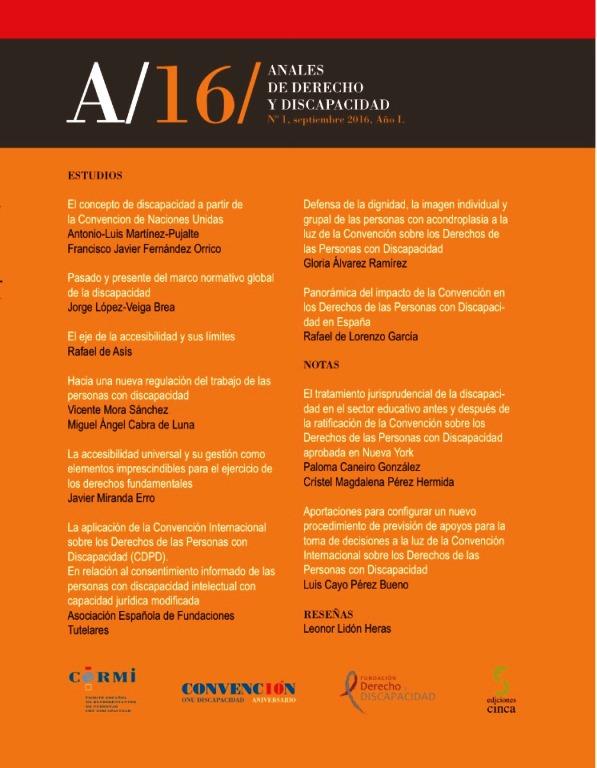 """Portada del primer volumen de """"Anales de Derecho y Discapacidad"""""""