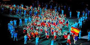 Equipo Paralímpico Español con Jose Manuel Ruiz como abanderado