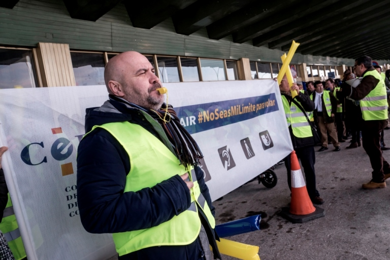 Momento del acto cívico del CERMI el sábado pasado contra Ryanair