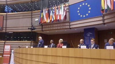 El presidente del EDF, Yannis Vardakastanis, en una comparecencia europea