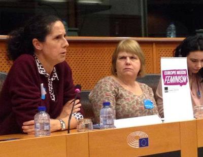 Ana Peláez, miembro del Comité Ejecutivo del EDF, durante una intervención