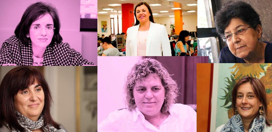 Mosaico con los retratos de seis mujeres entrevistadas en cermi.es semanal