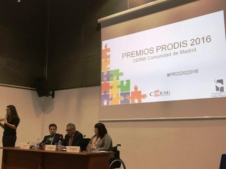 Momento de los 'Premios PRODÍS 2016' de CERMI Comunidad de Madrid, reconocimiento al trabajo en favor de la discapacidad