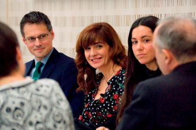 Fernando Riaño, presidente de Forética, Pilar Marqués, directora de Comunicación de Servimedia, María Peña, Comunicación de la Consejería de Políticas Sociales y Familia de la Comunidad de Madrid