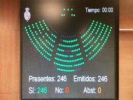 Imagen de la pantalla del Senado con las votaciones a favor de una Comisión de Discapacidad permanente y legislativa