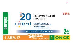 Cupón de la ONCE dedicado al CERMI, por sus 20 años en defensa de las personas con discapacidad