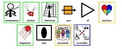 Lema del día mundial del autismo: Rompamos juntos barreras por el autismo. Hagamos una sociedad accesible. En pictos
