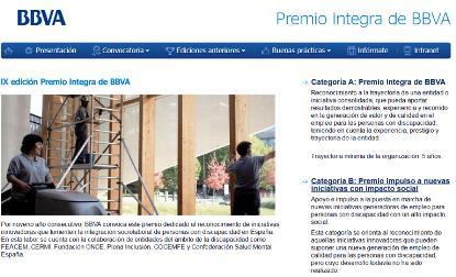 Imagen de la web del Premio Integra BBVA