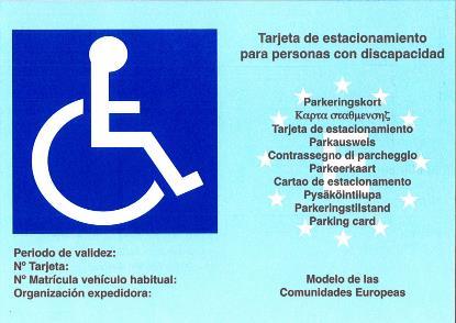 Tarjeta de estacionamiento para personas con discapacidad