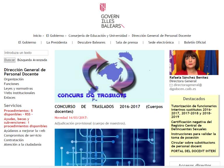 Detalle de la página web del Gobierno de Baleares
