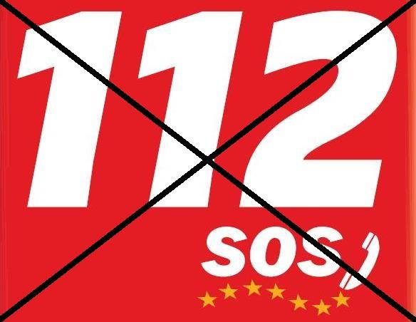 Logotipo del 112 tachado