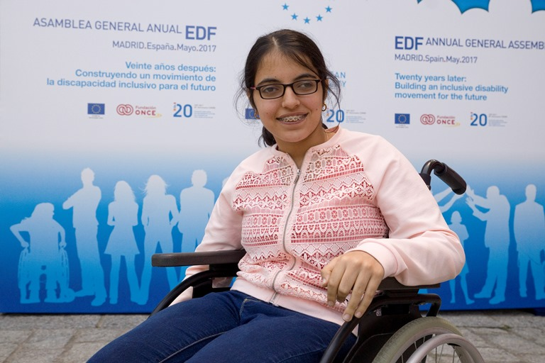 Nugeen Mustaza, refugiada con discapacidad