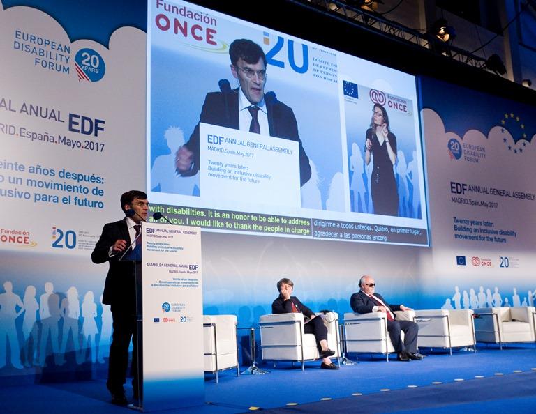 El vicepresidente del CERMI, Alberto Durán, durante su intervención en la Asamblea del EDF celebrada en Madrid