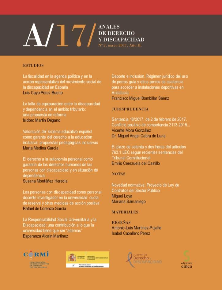 Portada de 'Anales de Derecho y Discapacidad 2017. Volumen II'