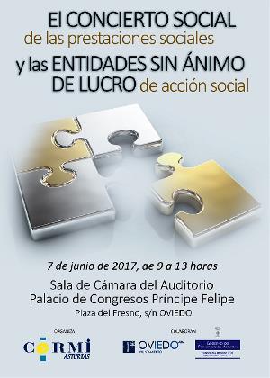 """Cartel de la Jornada """"El concierto social de las prestaciones sociales y las entidades sin ánimo de lucro de acción social"""""""