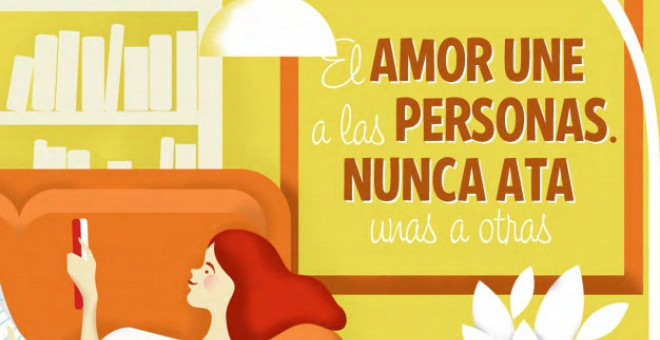 """Ilustración que dice: """"El amor une a las personas nunca ata unas a otras"""""""