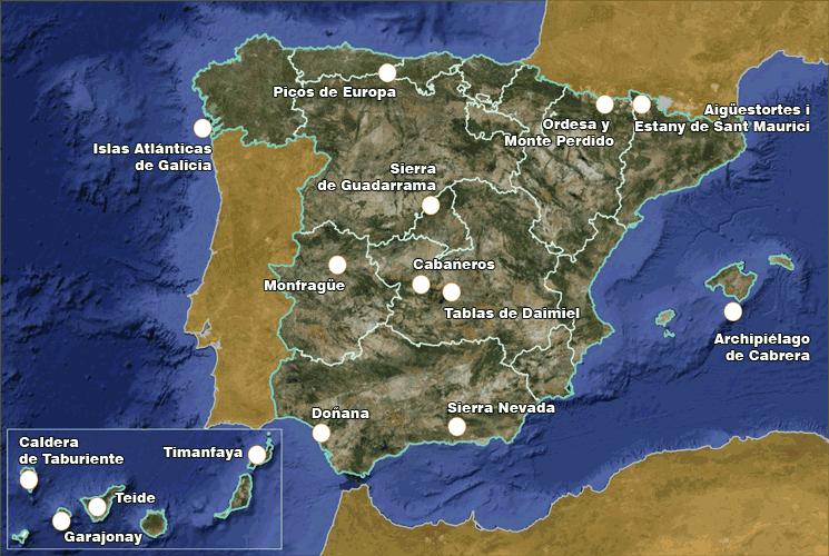 Mapa de los Parques Nacionales