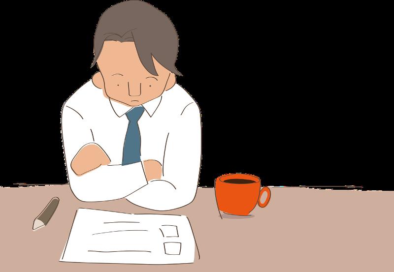 Ilustración de un hombre trabajando y estudiando con unos papeles sobre la mesa