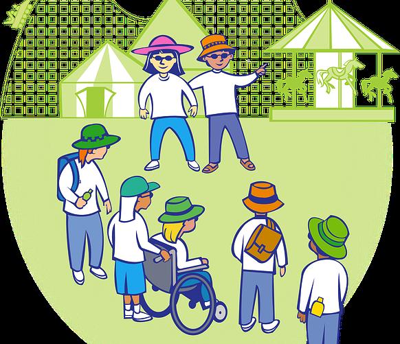 Imagen que recrea un grupo de niños en el que uno de ellos es usuario de silla de ruedas