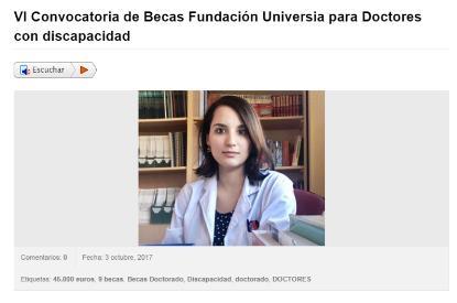 VI Convocatoria de Becas Fundación Universia para Doctores con discapacidad