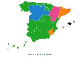 Mapa de España con diferentes colores que definen diferentes gestiones