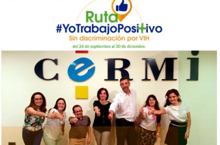 Cartel del CERMI con el lema '#YoTrabajoPositivo Sin discriminación por VIH'