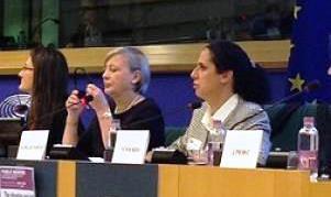 Ana Peláez, vicepresidenta ejecutiva de la Fundación CERMI Mujeres, durante su intervención en la Comisión de Derechos de la Mujer e Igualdad de Género de la Eurocámara