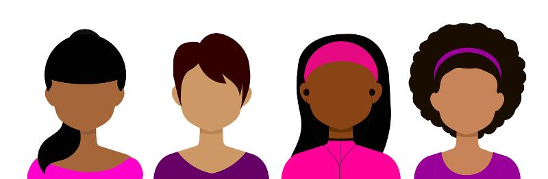 Modelos de avatar, o identidad virtual, de distintos tipos de mujer